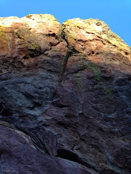Rock Climbing Photo: Follow bolts that trend right, then up the crack t...