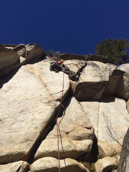 In the crux of the climb, belayed by Cody Harrington (my bro)