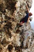 Rock Climbing Photo: Pumped, just below the anchors.