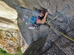 Rock Climbing Photo: Ivana on the 5 pitch 10a, Gweilo. Lion Rock.