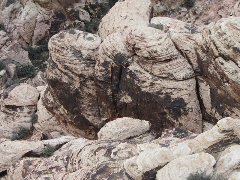 Rock Climbing Photo: Jessica's Wall from above. Unknown climber on Ligh...