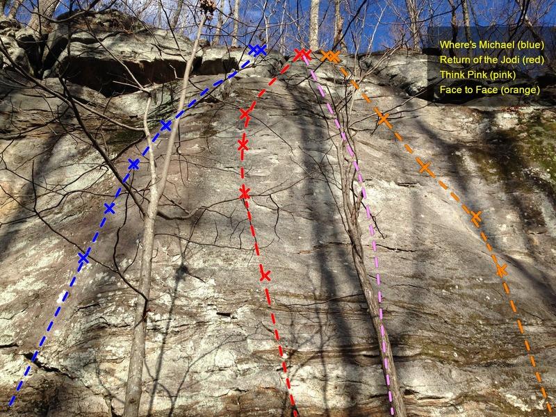 Rock Climbing Photo: Mt Yonah - White Wall - Close Up Topo