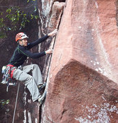 Rock Climbing Photo: Me getting into the boulder start of Boving Reflec...