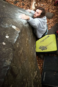 Rock Climbing Photo: Connor traversing Googy V5, on the Teddy Bear Boul...