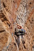 Rock Climbing Photo: Matt Greco getting set up for crux maneuvers.  Wad...