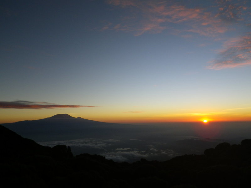Rock Climbing Photo: Sunrise over Kili and Mawenzi from Saddle Hut.