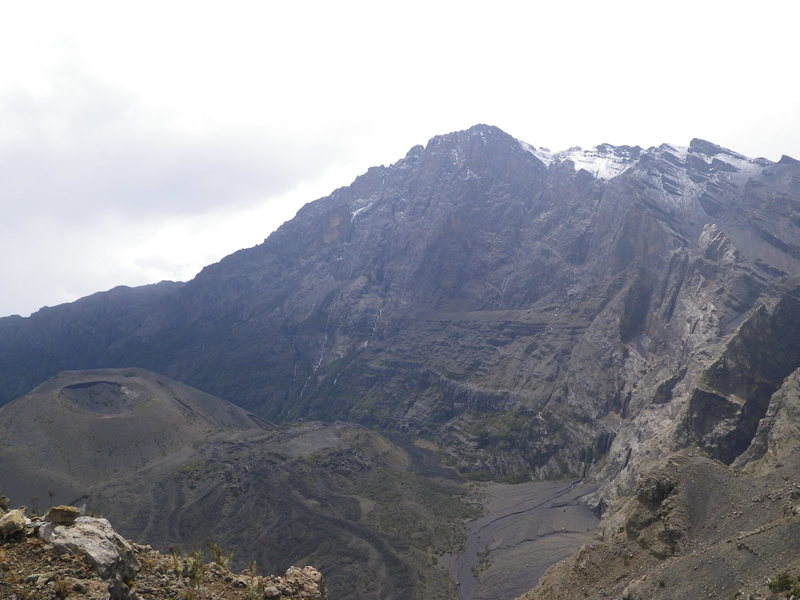 View from Rhino point. Snow on the summit and seasonal waterfalls from snow melt and rain. One of the tallest walls in Africa.