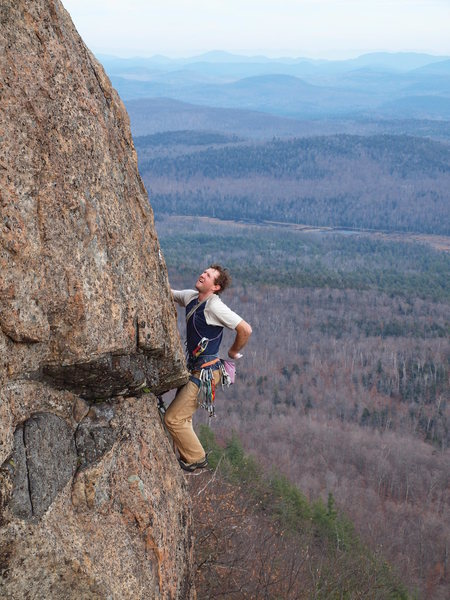 Rock Climbing Photo: Will Roth scopes the crux runout.