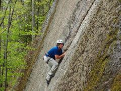 Rock Climbing Photo: Val eyes the next move.
