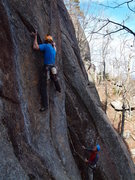 Rock Climbing Photo: Jamie tackles the direct crux.