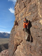 Rock Climbing Photo: John claiming the third ascent of Inferno, 5.12a.