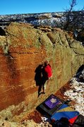 Rock Climbing Photo: Jared gaining the high right foot to reach the edg...