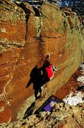 Rock Climbing Photo: Jared pulling on the inverted tear drop to reach t...