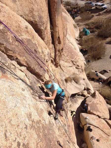 Stacy Otto on The Fetus 5.10a/b Joshua Tree.