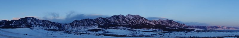 Winter sunrise on Eldo and the Flatirons.