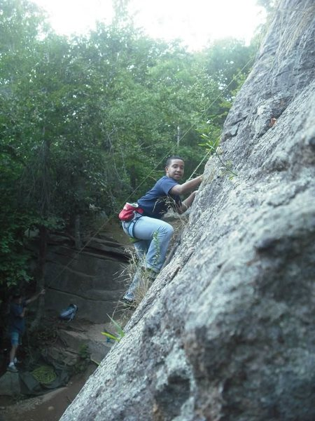 Rock Climbing Photo: Isaiah working his hardest to make it to the top!