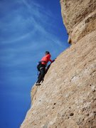 Rock Climbing Photo: Climber making the final moves to the anchor on &q...