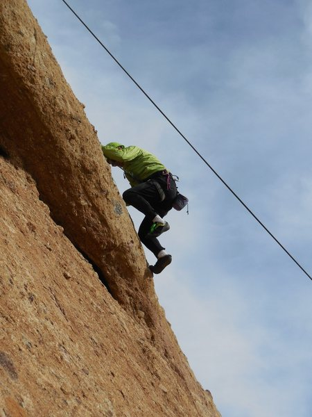 """Pulling the crux bulge and on the upper slab of """"Hyperion."""""""