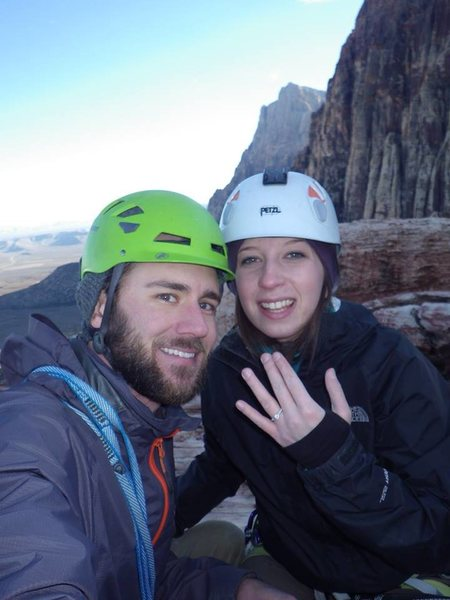 Popped the question on top of Olive Oil, on the Rose Tower, on a record setting low temp. day in Vegas.