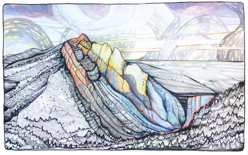 Eldorado Aglow - pen/ink/watercolor.
