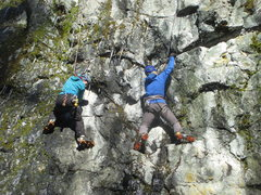 Rock Climbing Photo: Climbers on Tricky Start and Pumporama.