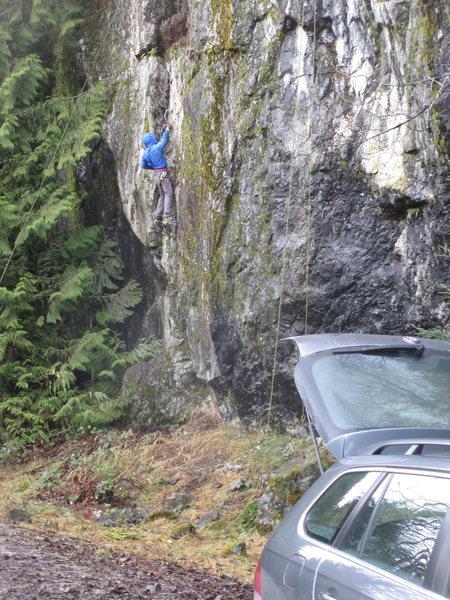 A climber on The Crack.