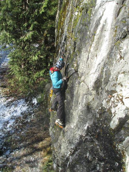 A climber on Tricky Start.