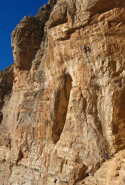 Ed and Mike climbing at The Bat Cave<br> Bella Dona/Glue-Fa (5.13)