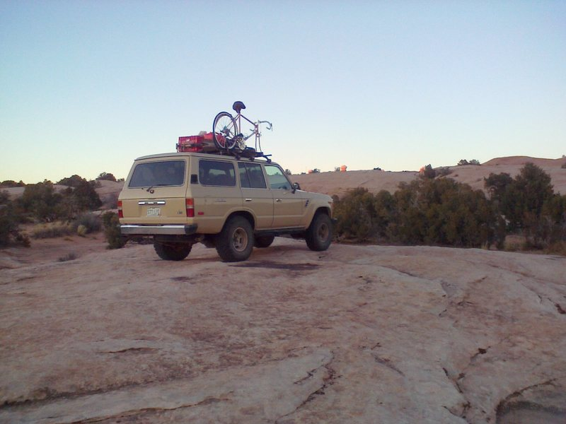 Slick rock camping just outside the west boundary of Arches NP.