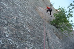 Rock Climbing Photo: Trying to move through the crux!