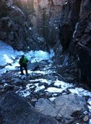 Rock Climbing Photo: Looking down the Poverty Gulch from bottom of seco...