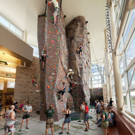Colorado State University's climbing wall.