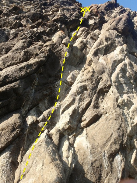 Rock Climbing Photo: Look for the first bolt 20' up the route.