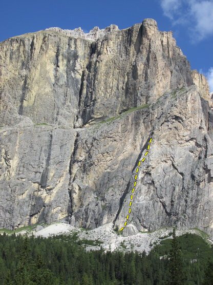 Rock Climbing Photo: Right side - ramp area of Piz Ciavezes with Papa G...