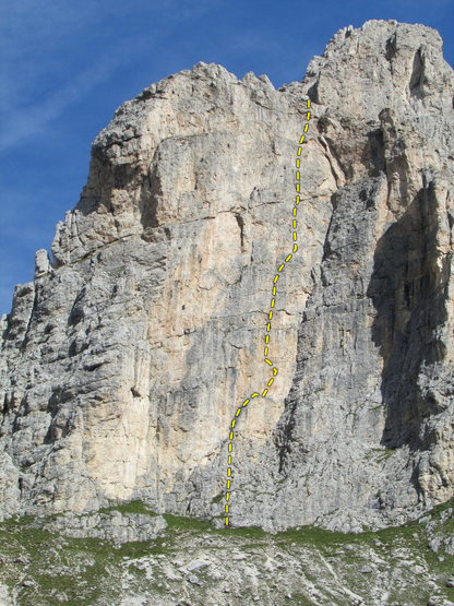 Photo by Roger Raubach of the SW face of First Sella Tower with Delenda Carthago route line.