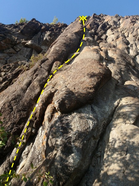 Climb this 100' crack route on gear if you have a head for scary gear.
