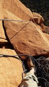 Rock Climbing Photo: This block atop pitch 3 is disconnected. Tred ligh...
