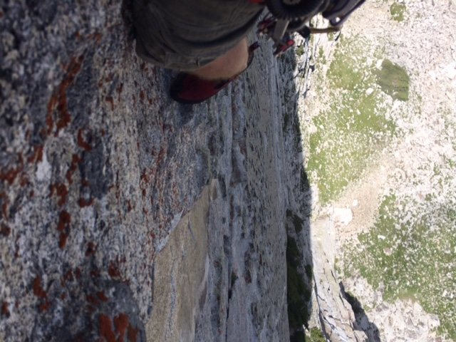 Rock Climbing Photo: looking down from the last pitch of Out of the Que...