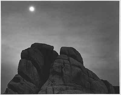 "Ansel Adams ""Rocks and Moon"" (Chimney Rock - west face)"