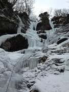 Rock Climbing Photo: Right Amphitheater, WI3.  Route was filling back i...