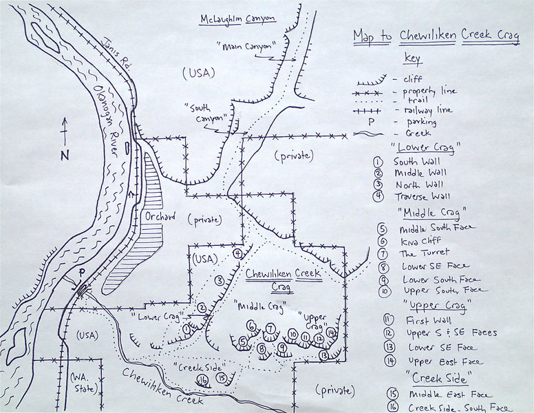 Map to Chewiliken Creek Crag