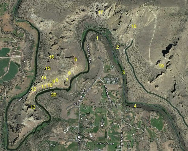 This is an overview of the Smith Rock Crags. Locations are approximate. <br> Basalt Crags: <br> 1 - Northern Point <br> 2 - Student Wall <br> 3 - Lower Gorge <br> 4 - Upper Gorge <br> <br> Main Crags <br> 5 - Red Wall <br> 6 - Picnic Lunch Wall <br> 7 - Shipwreck Wall <br> 8 - Aggro Gully <br> 9 - Cocaine Gully <br> 10 - Morning Glory <br> 11 - Dihedrals <br> 12 - Christian Brothers <br> 13 - Smith Rock Group <br> 14 - Spiderman Buttress <br> 15 - Mesa Verde Wall <br> 16 - Monkey Face <br> 17 - Monument Area <br> 18 - Staender Ridge <br> 19 - Marsupials<br> 20 - Rope De Block
