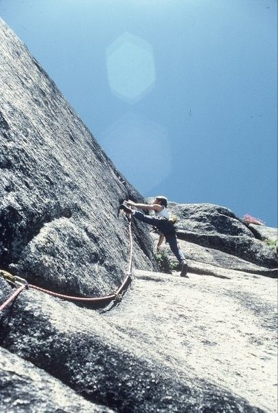 "Rock Climbing Photo: Scott Cole stemmed out leading ""Black Like Me..."