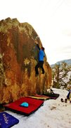 Rock Climbing Photo: Making the big reach to the perfect three-finger e...