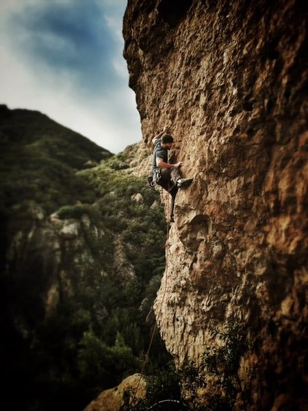 Rock Climbing Photo: On sight attempt. Fell at the last bolt! :/ Real f...