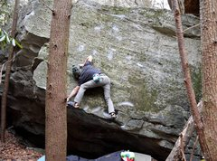 Rock Climbing Photo: Parlier finishing the weird/awesome mantle on Ambi...