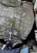 Rock Climbing Photo: Parlier off the start, reaching up to the thin cri...