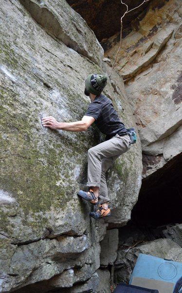 Rock Climbing Photo: Geared up for the pounce to the jug-slot on thin f...