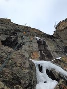 Rock Climbing Photo: The icy section of pitch 2:between the streaks is ...