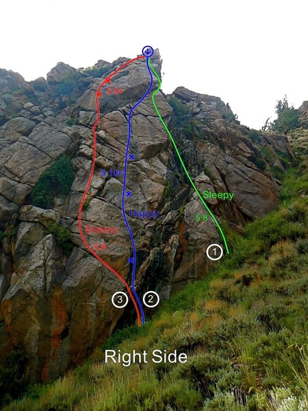 Happy is the center route of the 3 on the upper right side. It has the best moves and rock of all 5 routes.